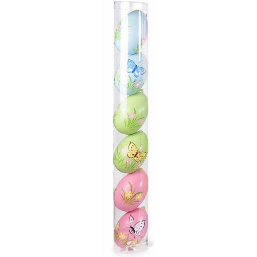 Set 6 oua decorative plastic suspendabile fluturasi verde albastru roz