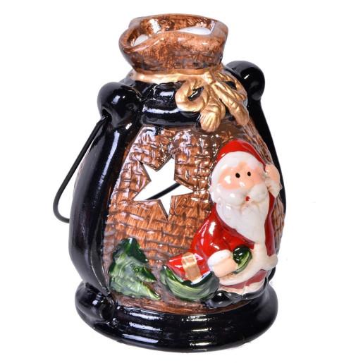 Candela ceramica Santa Claus 12cm