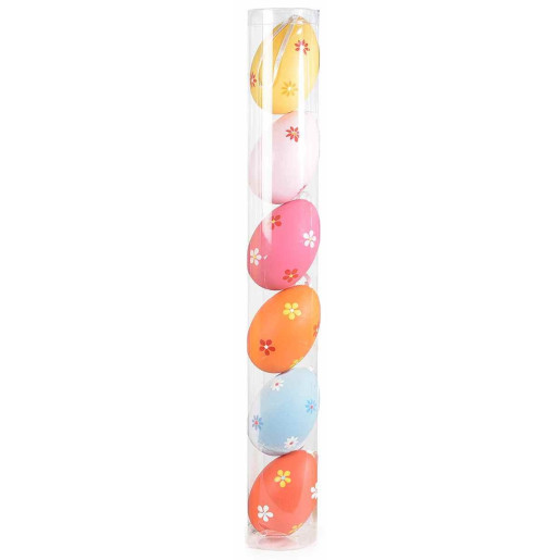Set 6 oua decorative plastic suspendabile flori multicolor
