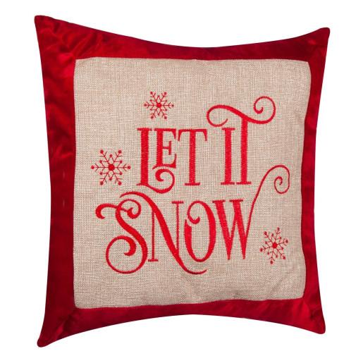 Perna decorativa crem rosu Let It Snow 42 cm x 42 cm