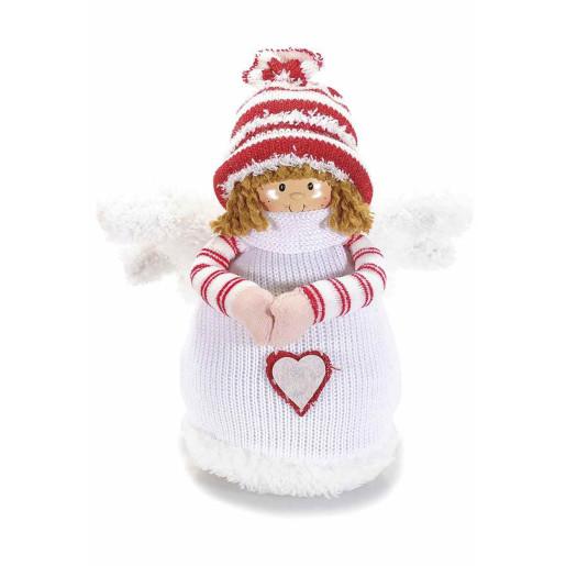 Figurina Inger portelan textil alb rosu  25 cm