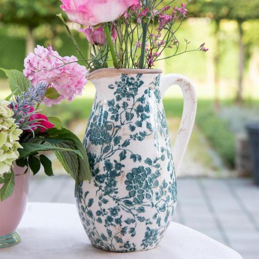 Carafa ceramica alb verde vintage 16 cm x 12 cm x 22 cm 1.3 L