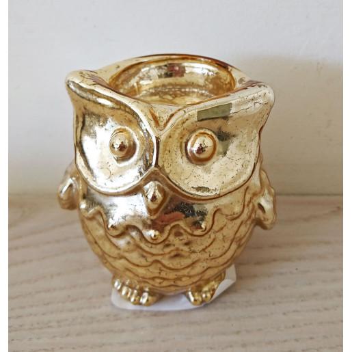 Suport lumanare sticla auriu Owl Ø 9x7 cm