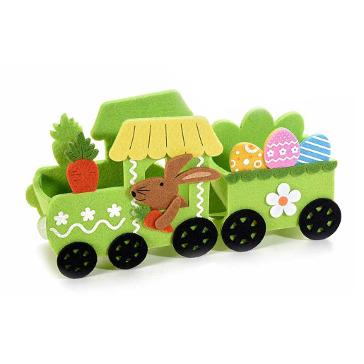 Trenulet decor Iepuras textil verde cm 28 x 8 x 14 H