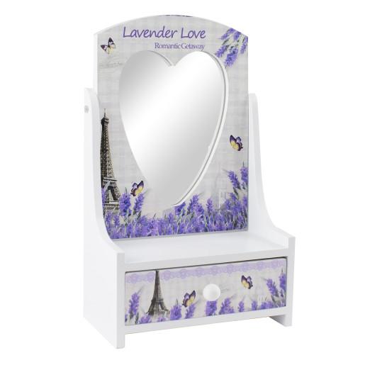 Cutie bijuterii Lavanda cu sertar si oglinda 13 cm x 21 cm