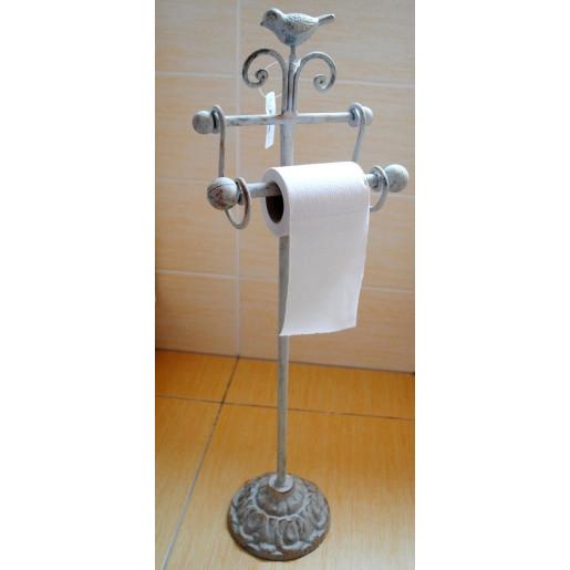 Suport fier forjat gri antichizat hartie igienica Bird 22 cm x 10 cm x 69 cm