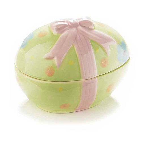 Ou Paste decorativ verde cu capac 8 cm x 11 cm x 8 h