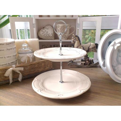 Platou ceramica crem 2 etaje Elegance Ø 21x23 cm