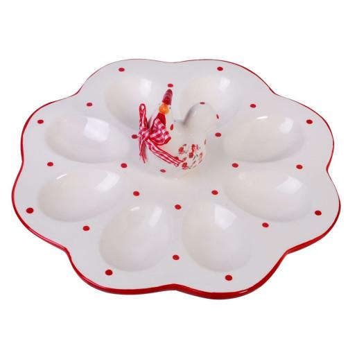 Platou ceramica rosu alb Paste 8 oua 25 cm