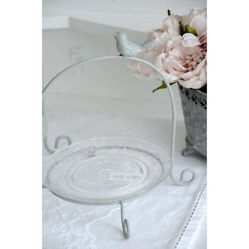 Platou sticla cu suport metal Bird 32 cm x 30 cm x 33 h