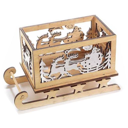 Sanie decor lemn natur Ren 18 cm x 9.5 cm x 10.5 cm