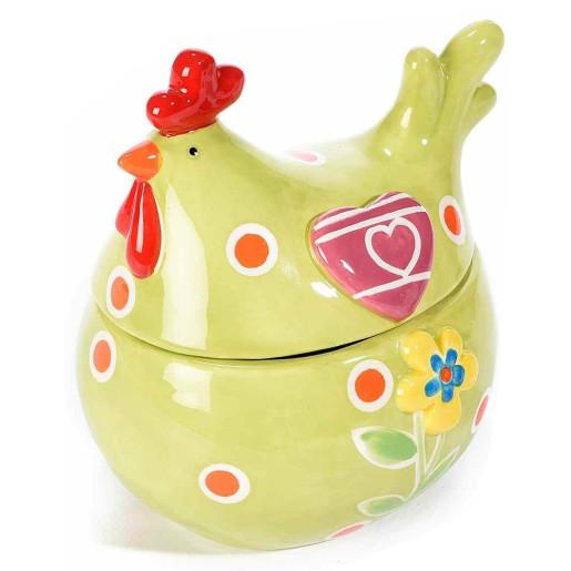 Bol Gallina ceramica cu capac verde cm 14,5 x 11,5 x 15,5 H