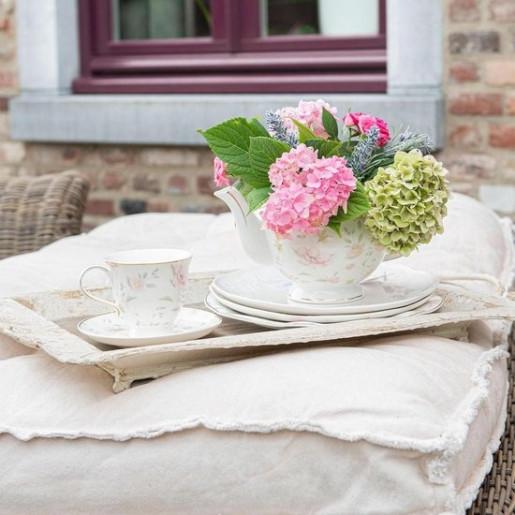 Ceasca cu farfurioara portelan Flowers Ø 15*9 cm - 0.22 L