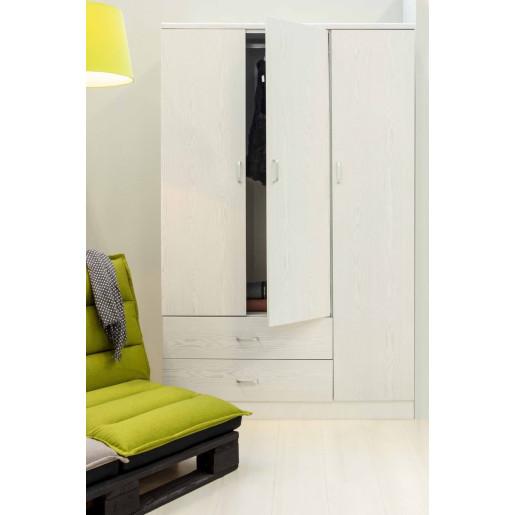 Dulap din mdf alb marmorat cu 3 usi si 2 sertare Leonardo 120 cm x 52 cm x 190 h