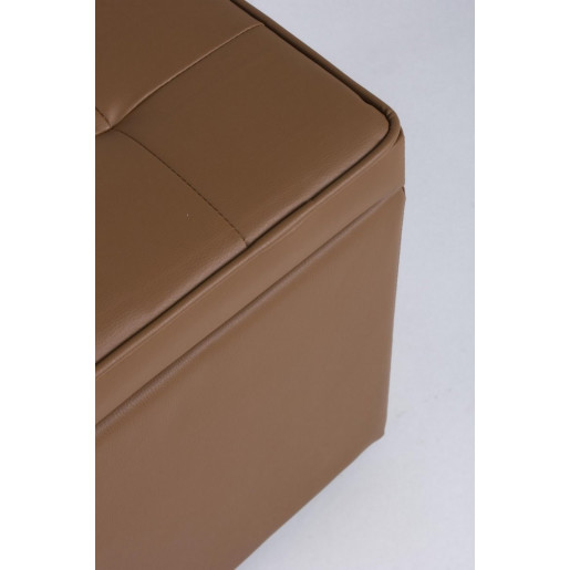 Set 2 tabureti piele ecologica maro cu spatiu depozitare Bellville 35 cm x 35 cm x 35 h; 45 cm x 45 cm x 45 h