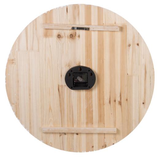 Ceas de perete retro lemn natur alb antichizat Ø 60 cm x 5 cm