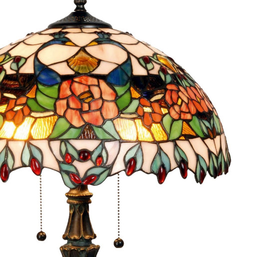 Veioza cu baza din polirasina maro si abajur din sticla Tiffany Ø 41 cm x 67 h