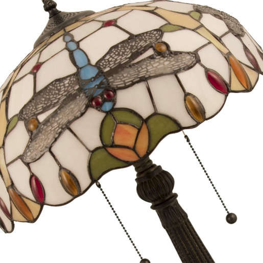 Veioza cu baza din polirasina cupru si abajur din sticla Tiffany Ø 40 cm x 60 h