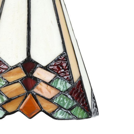 Lustra din fier negru cu abajur din sticla Tiffany Ø 15 cm x 119 h