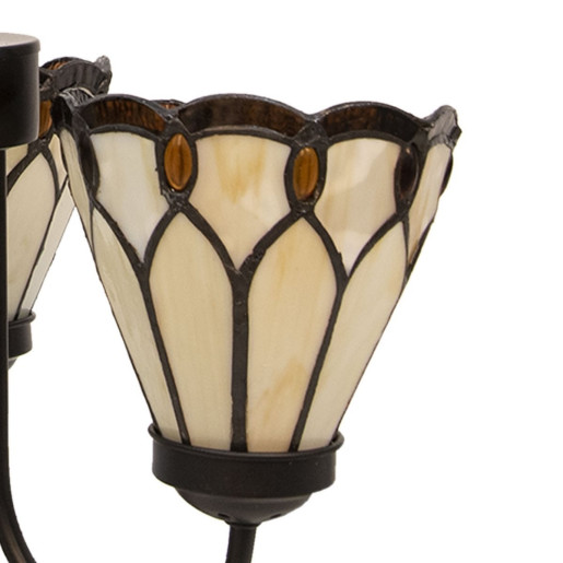 Candelabru cu 3 brate din fier culoarea cupru si abajururi din sticla Tiffany Ø 39 cm x 125 h
