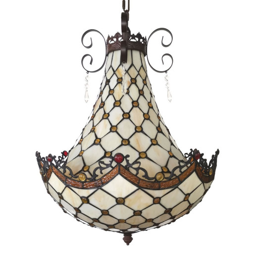 Lustra din fier maro si abajur sticla Tiffany Ø 41 cm x 65 / 128 h