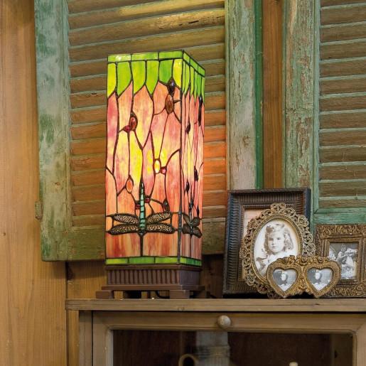 Veioza cu baza din polirasina maro si abajur din sticla Tiffany 18 cm x 18 cm x 45 h