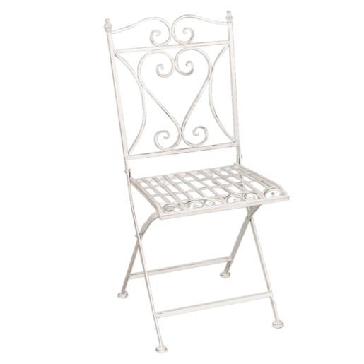 Set 2 scaune pliabile si masa fier forjat alb patinat Garden