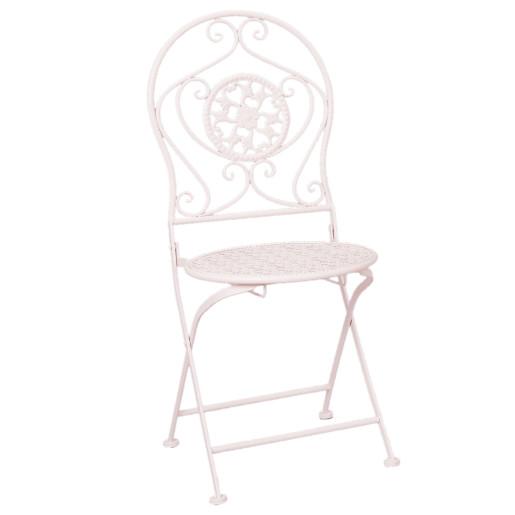 Set  mobilier gradina 2 scaune pliabile si masa fier forjat alb Garden