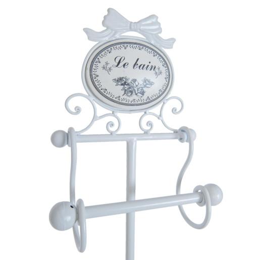 Suport fier forjat alb hartie igienica Le Bain 22 cm x 13 cm x 77 h