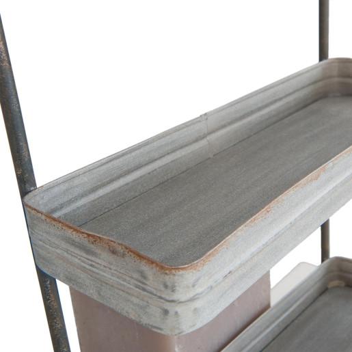 Raft fier forjat gri 3 polite si suport prosop 36x14x74 cm