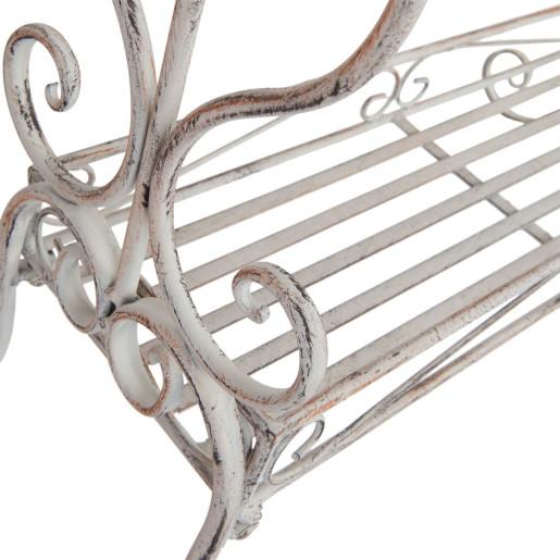 Suport fier forjat alb antichizat prosoape Elisabeth 65 cm x 40 cm x 92 cm
