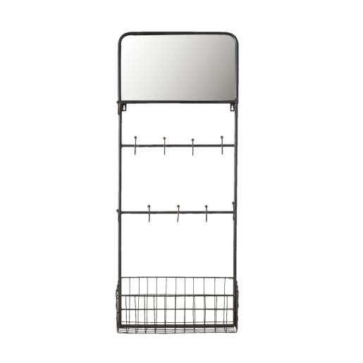 Cuier de perete fier forjat maro 11 agatatori 1 polita si oglinda 44 cm x 15 cm x 112 cm