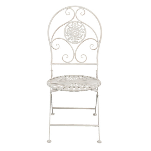 Set 2 scaune pliabile si masa fier forjat alb patinat