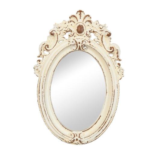 Oglinda de perete crem patinat 14 cm x 20 cm