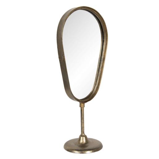 Oglinda de masa cu picior si rama fier negru cu patina aurie 18 cm x 12 cm x 41 h