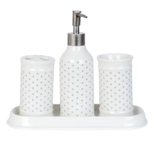 Set baie ceramica 4 piese alb gri model Stelute