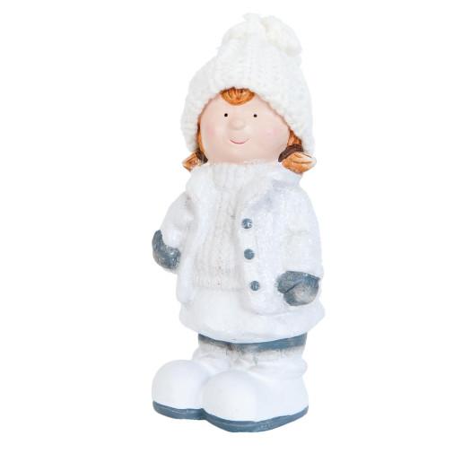 Figurina fetita ceramica alb albastru 8 cm x 6 cm x 17 cm