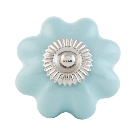 Buton mobila din fier si ceramica albastra Ø 4 cm