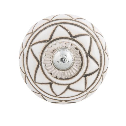 Buton mobila din fier si ceramica alba maro Ø 4 cm x 4 cm