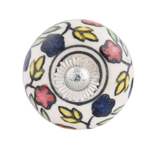 Buton mobila din fier si ceramica multicolora Ø 4 cm x 4 cm