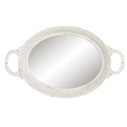 Tava decorativa servire cu oglinda alb patinat 39*24*4 cm