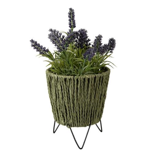 Suport ghiveci flori din fier negru si hartie verde Ø 11 cm x 18 cm