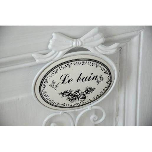Cuier si etajera fier forjat alb Le Bain 35x11x42 cm