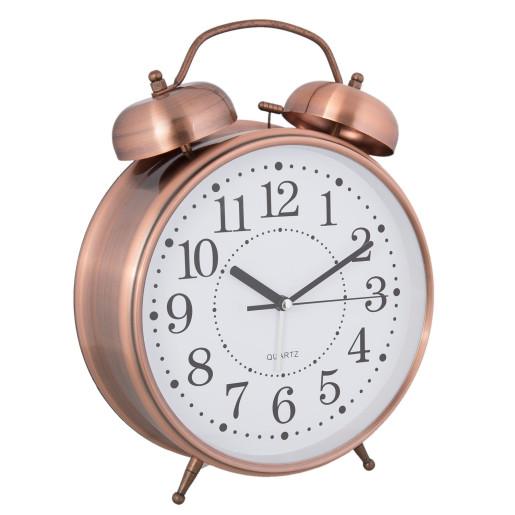 Ceas desteptator de masa metal cupru clasic Ø 11 cm x 15 cm