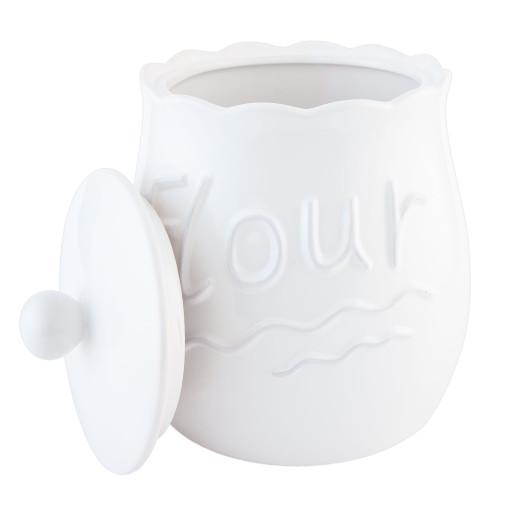 Borcan decorativ cu capac ceramica alba  Flour 19 cm x 24 cm 1L