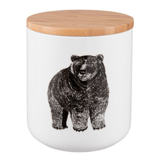 Borcan ceramica cu capac inchidere ermetica condimente Bear 10 cm x 13 cm