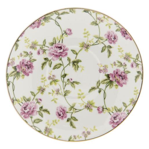 Ceasca cu farfurioara portelan Flowers Pink Ø 13*2 - 12*9*5 cm