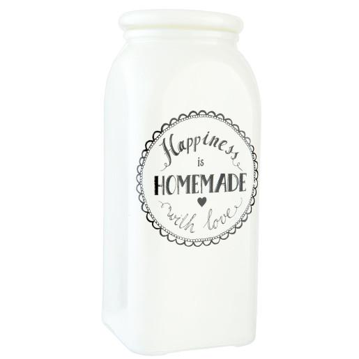 Borcan sticla condimente Happiness 10 cm x 10 cm x 23 cm 1.5 L