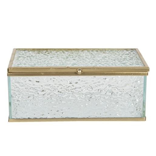 Caseta bijuterii din sticla si metal auriu 14 cm x 8 cm x 6 h