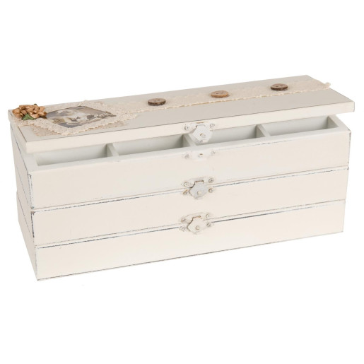 Cutie bijuterii lemn alb cu 2 sertare Amelie 27 cm x 10 cm x 10 cm